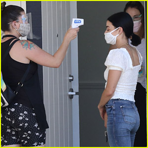 Lucy Hale Gets a Temperature Check While Heading Into a Skincare Facility