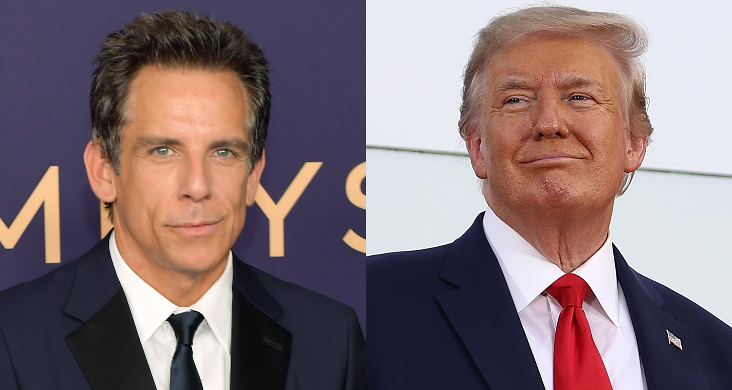 Ben Stiller Won T Cut Donald Trump Out Of Zoolander Amid Backlash Ben Stiller Donald Trump Just Jared