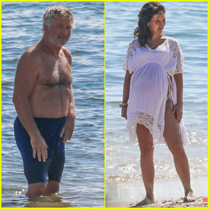 Alec Baldwin Hits the Beach with Pregnant Wife Hilaria in The Hamptons!
