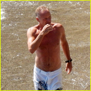Sting Looks Fit During a Day at the Beach on Vacation in Italy
