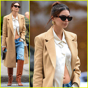 Pregnant Emily Ratajkowski Shows Off Baby Bump in Midriff Baring Shirt in NYC