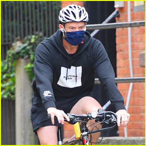 Hugh Jackman Stays Safe in Face Mask While Out on Bike Ride