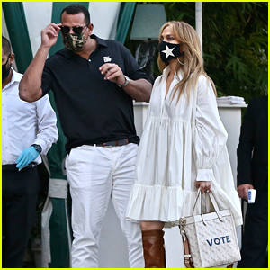 Jennifer Lopez Carries Her 'Vote' Tote While Out for Lunch with Alex Rodriguez