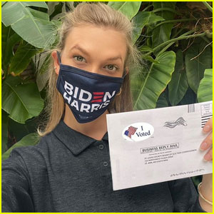 Karlie Kloss Wears a Biden/Harris Face Mask While Voting in 2020 Election