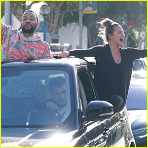 Chrissy Teigen & John Legend Hang Out of Their Car to Celebrate Biden's Win with Fans!