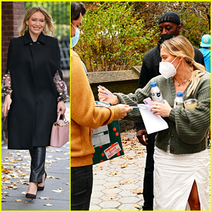 Hilary Duff Signs An Autograph While Heading To Film More 'Younger' in NYC