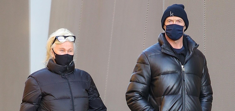 Hugh Jackman & Wife Deborra-Lee Furness Bundle Up for Morning Dog Walk