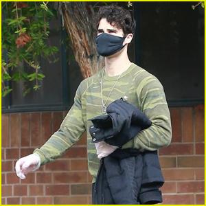 Darren Criss Stays Safe in Mask & Gloves Leaving a Workout