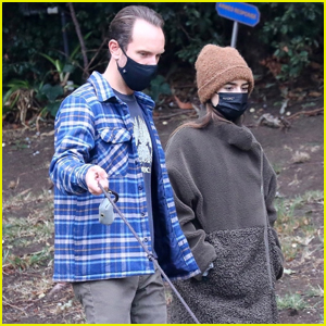 Lily Collins & Fiance Charlie McDowell Mask Up for Walk With Their Dog