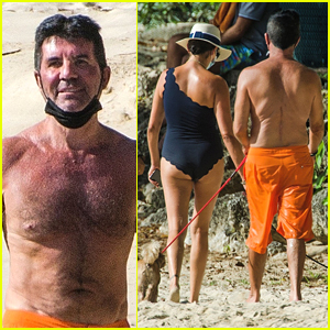 Simon Cowell Enjoys A Beach