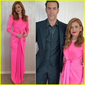 Isla Fisher Goes Pretty in Pink While Supporting Golden Globes 2021 Nominee Sacha Baron Cohen