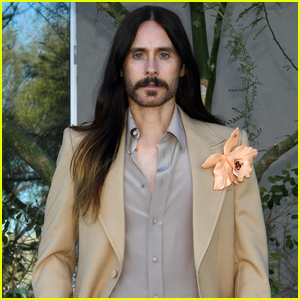 Jared Leto Sports Flower Brooch in His Gucci Suit for Golden Globes 2021