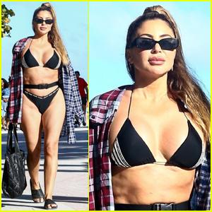 Larsa Pippen Bares Rockin' Body in Black Bikini for Day at the Beach