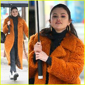 Selena Gomez Wears a Fuzzy Leopard Lined Coat on 'Only Murders' Set in NYC