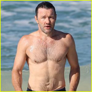 Joel Edgerton Goes for a Dip in the Ocean in Sydney!