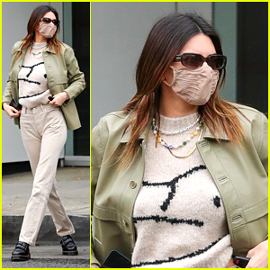 Kendall Jenner Wears A Cute Green Jacket For Lunch With Friends in Beverly Hills