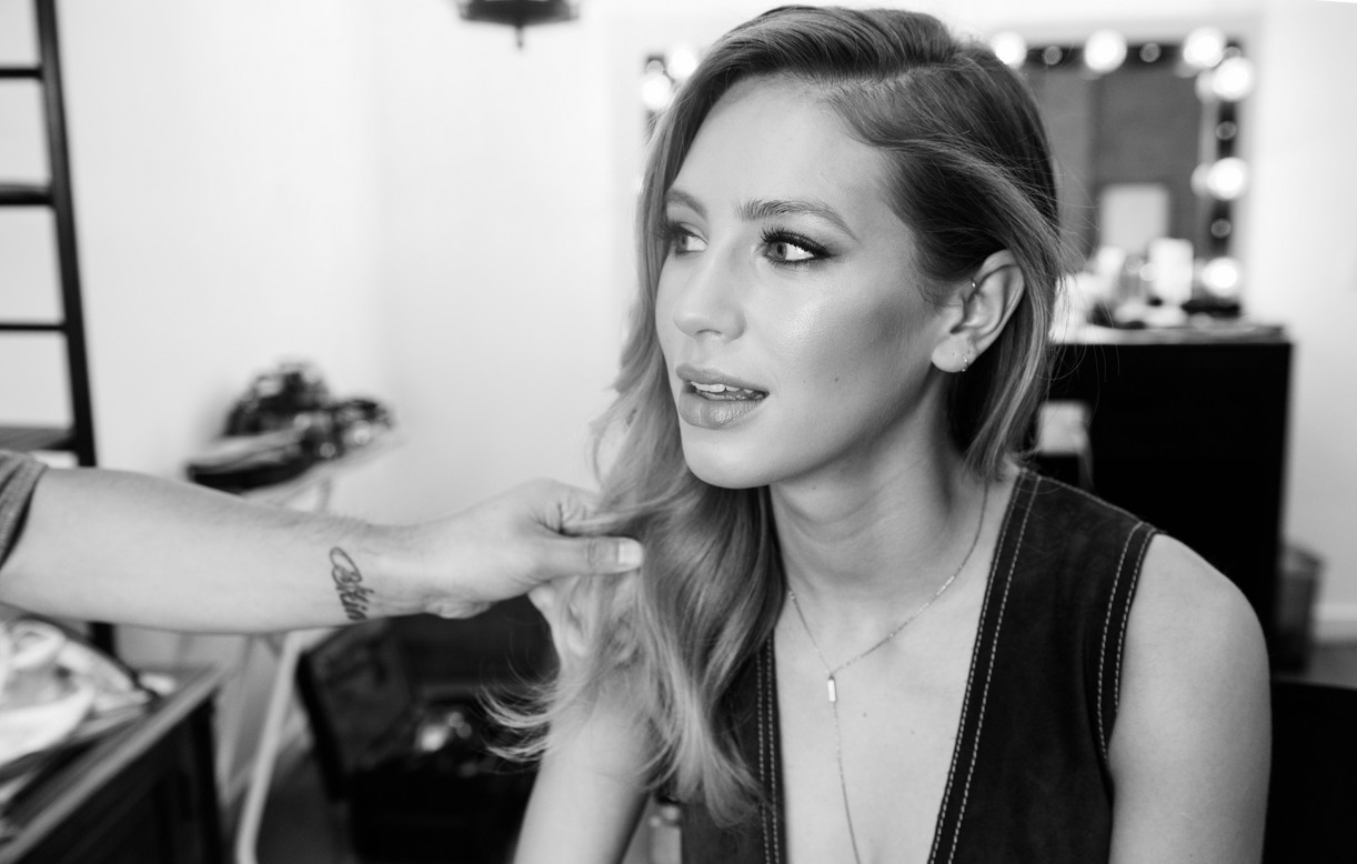 Dylan Penn Behind The Scenes getting her hair done