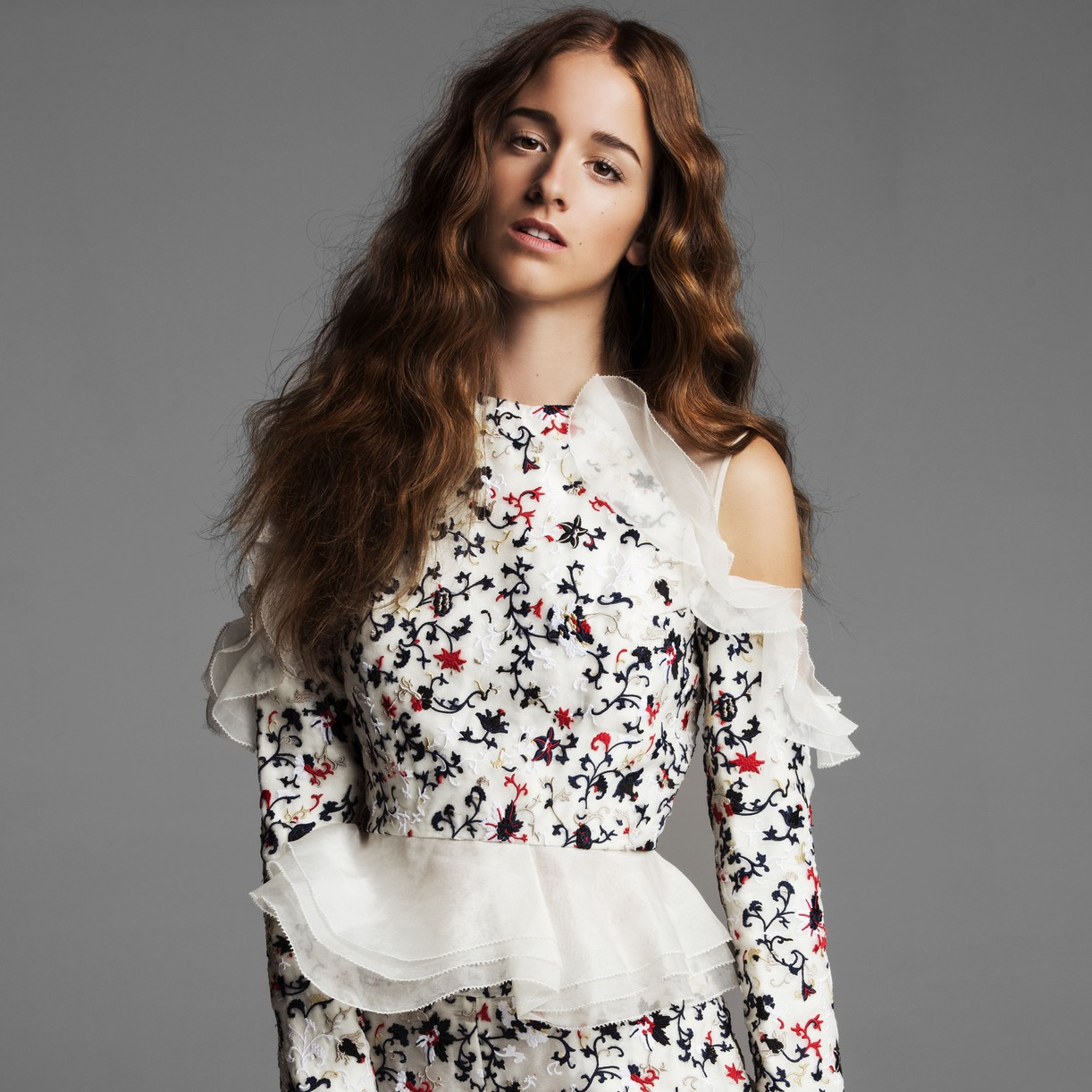 Coco Konig poses in a Huishan Zhang floral top